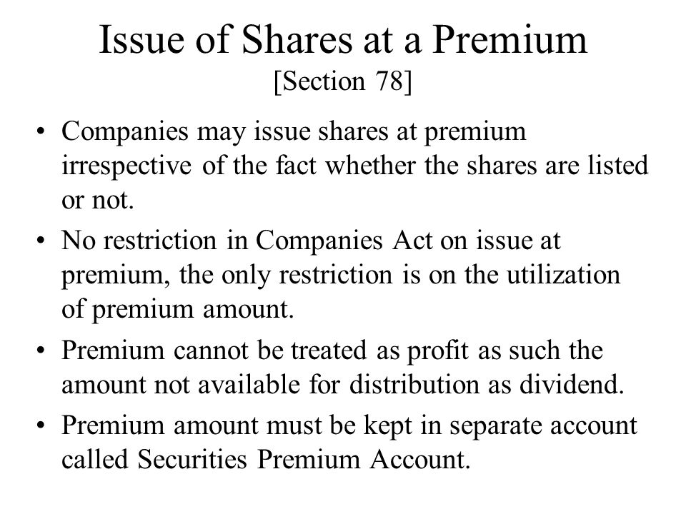 Issue of Shares at a Premium [Section 78]